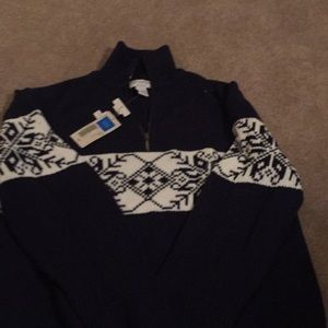 Navy and cream/white Nordic sweater- size large